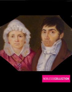 ANTIQUE 1830s FRENCH SCHOOL MINIATURE HAND PAINTED WATERCOLOR Couple Portrait