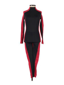 Weissman Red Black Two Tone Colorblock Unitard mt11202 Dance Costume Size MC M