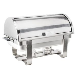 Roll Top Deluxe 8 Qt. Full Size Choice Chafer Stainless Steel Chrome Accents