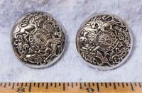 Vintage Lot of 2 Crest Shield Buttons mv