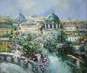 MADJID RAHNAVARD Ölgemälde von Rom Petersdom auf Leinwand Stadt Malerei 70x60