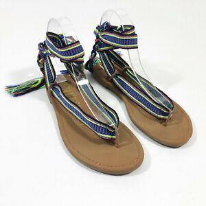 EUC Sam & Libby Braided Ribbon Ankle Tie Flat Thong Sandals