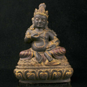 "11.2"" Tibet Praying Stone Marnyi Stone Carved Yellow Jambhala Wealth God Statue"