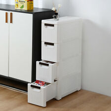 4-tier Drawer Wide Cart Storage Box Home Organizer Room Cabinet  White scroll