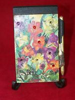 BLANK SHEET NOTEPAD SPRING LOADED ANTIQUE RHINESTONE FLORAL PENCIL