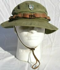 US ARMY OLIVE GREEN SUN BOONIE HAT WITH INSIGNIA FIRST DIVISION ENAMEL INSIGNIA