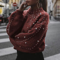 Women Sweater Pearl Knit Pullover Long Sleeve Solid Jumper Casual Tops Autumn