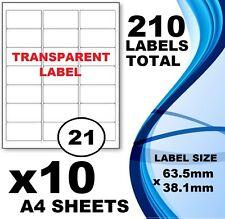 10 x Sheet 21 TRANSPARENT Labels 63.5mm x 38mm A4 Mailing Address Label Inkjet