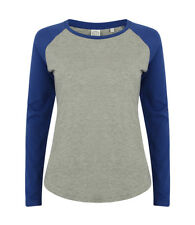Ladies Womens GREY BLACK BLUE RED Long Sleeve Contrast Baseball Tee T-Shirt