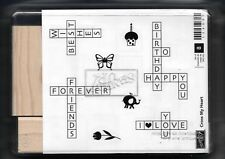 CROSS MY HEART Scrabble Game Crossword Cheer NEW Stampin' Up! WOOD Rubber Stamp