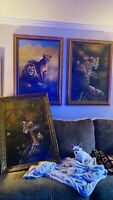 3  OIL/CANVAS PAINTINGS STRETCHED WOOD FRAMED LEOPARD LIONS CHEETAHS HANDPAINTED