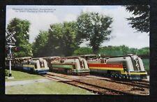 "c.1950 ""NEW"" CHRYSLER BUILT TRAINS DETROIT ZOO TAUBER FAMILY RAILROAD POSTCARD"
