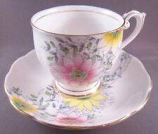 Bell Bone China Cup & Saucer #4737 - Yellow & Pink Flowers - England