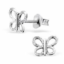 E1554 Butterfly Ear Studs Sterling Silver Kids Stud Earrings