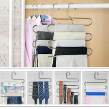 Stainless Steel Pants Trousers Hanger Clothes Magic Rack Closet Holder Organizer