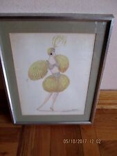 Vintage Original Drawing of a Woman in Theatrical Costume by Valentine Jonone