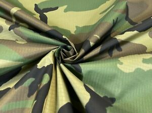 """Woodland Camo 1.9 oz Coated Square Ripstop Tan Backed DWR 60"""" Wide Camouflage"""