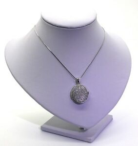 Oval Locket & Necklace 5A Cubic Zirconia Encrusted Sterling Silver Rhodium Plate