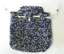 Vintage LUMURED Caviar Beadette Drawstring Purse Navy Blue And White Made In USA