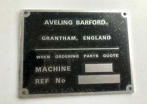 Aveling Barford Machine Blank Serial Plate Dumper Calf Dozer Roller Shovel