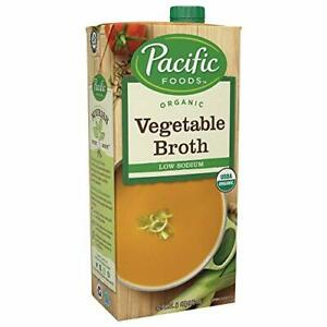 Pacific Foods Organic Vegetable Broth, Low Sodium, 32oz, 12-pack Keto Friendly