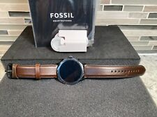 Fossil - Gen 5 Smartwatch 44mm Stainless Steel Black with Brown Leather FTW4026