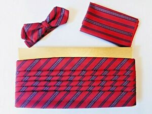 Vintage Cummerbund, Bow Tie, Pocket Square - Adjustable SET in Original Box.