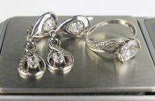 Set Earrings Ring size 7 SILVER 925 Trident stamp Ukraine USSR 7,62 g