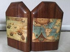 Estate Antique ITALIAN Wood Hinged Bookends - Map Design Discovery Home Decor