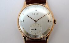 Vintage original ZENITH 18K gold men's watch, restored and fully revised. 35mm.