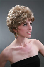 Noble mixed light brown curly short women's wig+hairnet