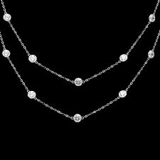 3CT Created Diamond By The Yard Bezel Station Necklace 14k White Gold Chain 16""