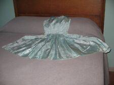 Vintage 1960s Blue / Aqua Blue Fancy Prom Dress Taffeta Full Skirt Bombshell Xs