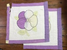 "2 Vtg Cutter Quilt 18"" Squares Pansy Flower Applique Embroidered Purple Pillow b"