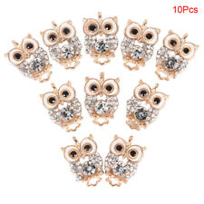 10Pcs Rhinestone Crystal Owl Enamel Charms Pendant DIY Jewelry Craft FindingsDT