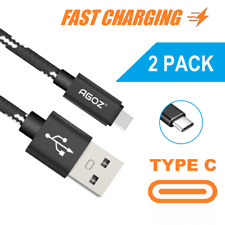 2Pack Braided USB C Cable FAST Charging Charger Type-C Data Sync Cord for Tablet