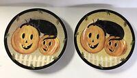 2 Sakura Pumpkin Dreams Warren Kimble 2001 Jack o Lantern Black Cat Plate