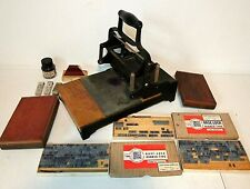 Vintage Block Printing Press with Base-Lock Rubber Type Stamp Sets