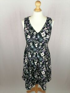 Womens Monsoon Sleeveless Fit & Flare Dress UK Size 12 Stretch Floral BNWT