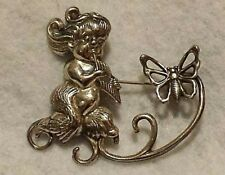 Vintage Sterling Silver Brooch / Pin by Lang - Faun / Satyr