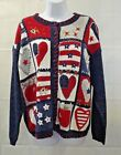 Heirloom Collectibles Vintage M Sweater Stars Stripes Hearts Patriotic Cardigan