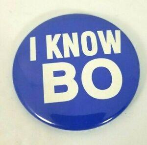 Vintage 1980s 1990s Nike Bo Jackson I KNOW BO Pin Back Button Employee Item
