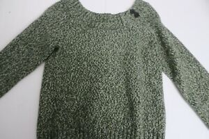 Old Navy Sweater Green w/ Brown Elbow Patches size XL Juniors Some Wool & Angora