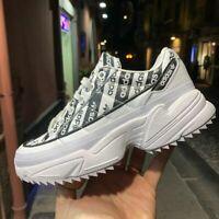 Scarpe Adidas Kiellor bianca con scritte nere zeppa donna bambina platform +4 cm