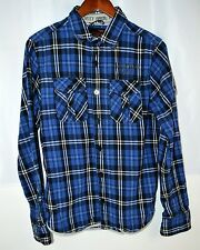 SCHOTT BROS. Men's Medium Blue Plaid Button Front Shirt Heavy Cotton