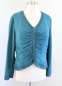 Jovani Teal Blue Green Silk Beaded Sequin Evening Formal Top Blouse Size 12M 12
