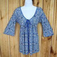 Express Top Blouse Womens S Blue White Floral Front Tie 3/4 Sleeve Round V-Neck
