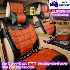 Synthetic leather PU leather Car Seat Covers Front Rear Universal Brown color
