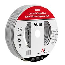 Coaxial Cable RG6 50m 1.0CCS Satellite Cable Sat Antaenna Freeview TV Coax HD UK