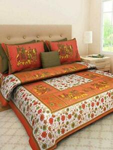 Rajasthani Printed Cotton Material King Size Double Bedsheet With 2 Pillow Cover